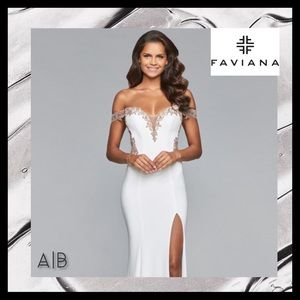 Faviana White & Rose Gold Prom Gown